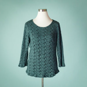 Cut Loose M Teal Blue Perforated 3/4 Sleeve Top